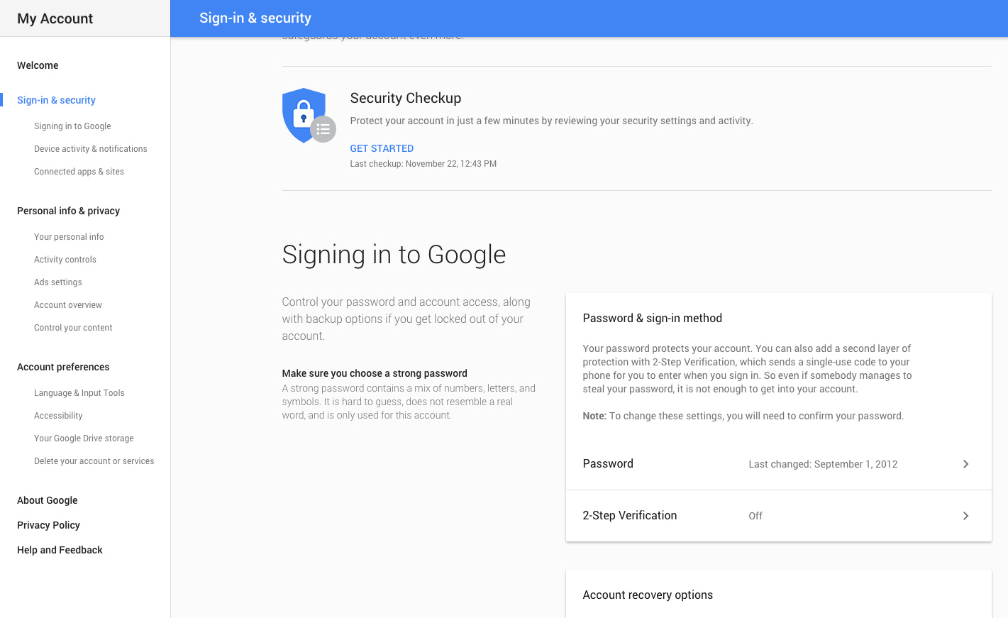 reset google password